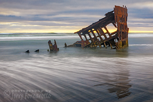 The Peter Iredale was a four masted steel ship that ran aground October 25, 1906, in Warrenton, Oregon.