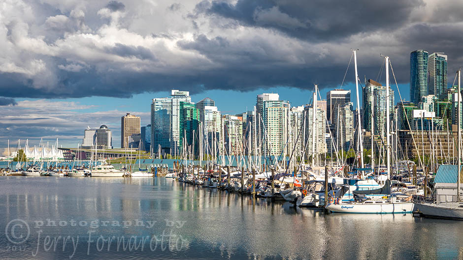 An urban marina for luxury boats in Vancouver, Canada.