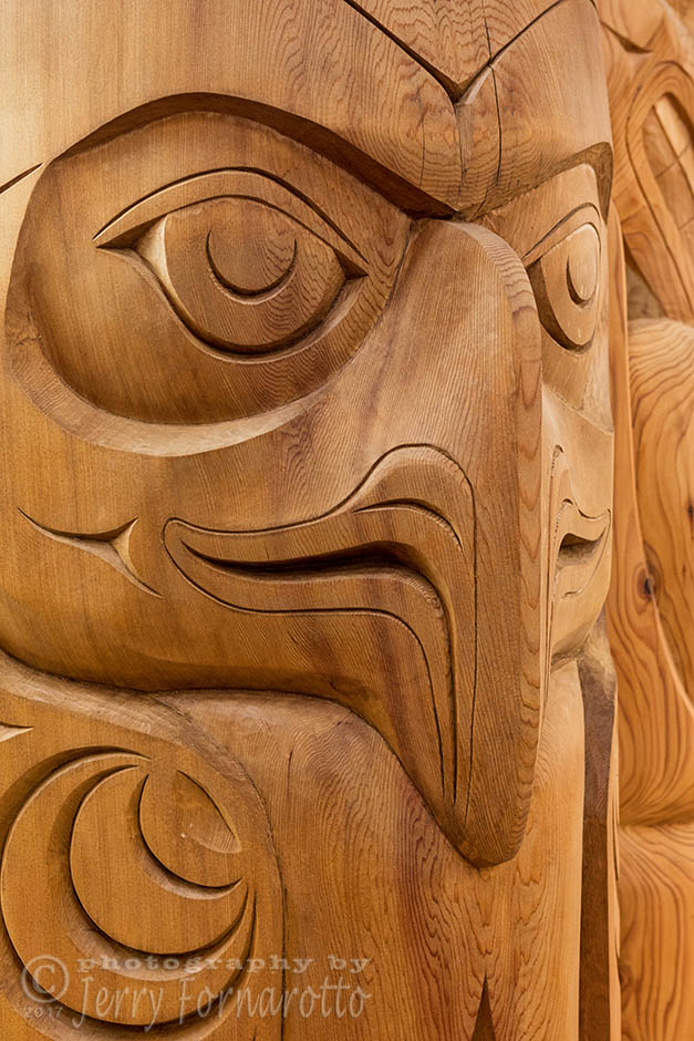 Totem poles are monumental carvings, a type of Northwest Coast art, consisting of poles, posts or pillars, carved with symbols or figures.