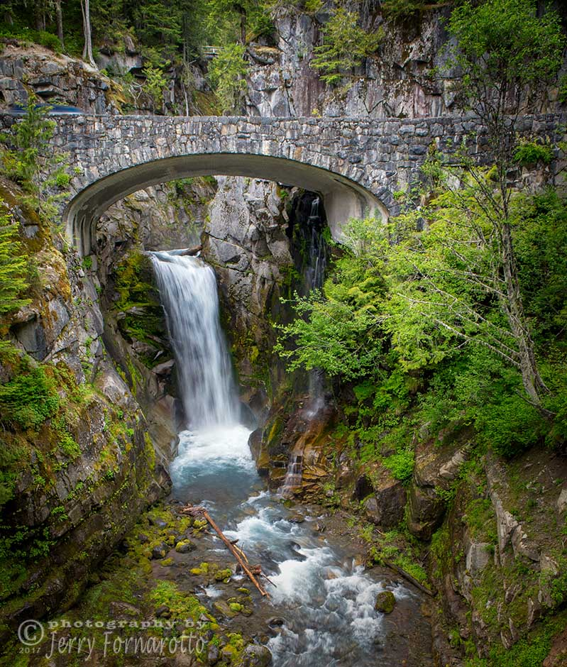 Christine Falls is located in Mount Rainier National Park, Washington. The falls drop 69 feet in drops of 32 and 37 feet respectively.