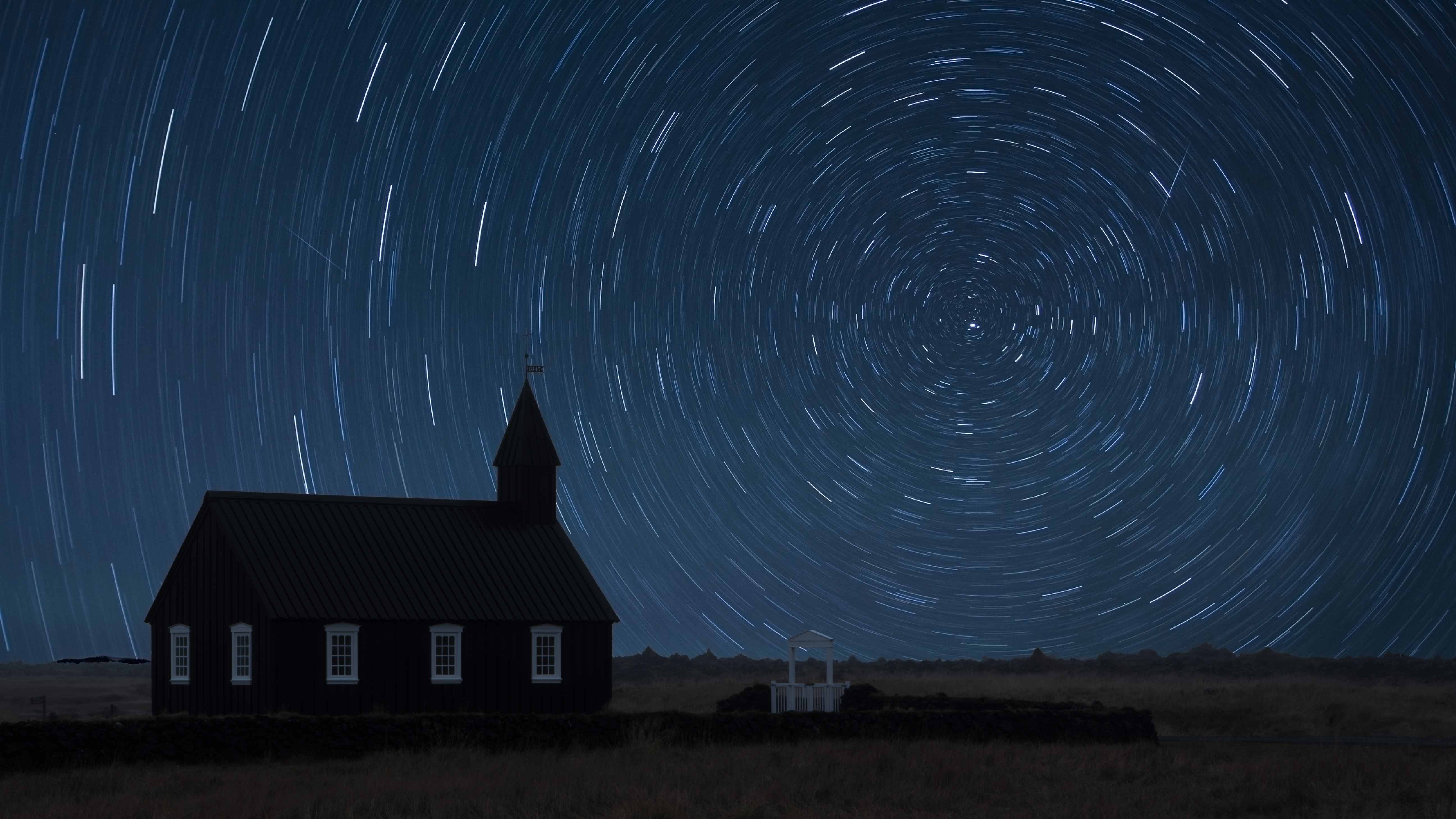 Starry Night at the Black Church Iceland