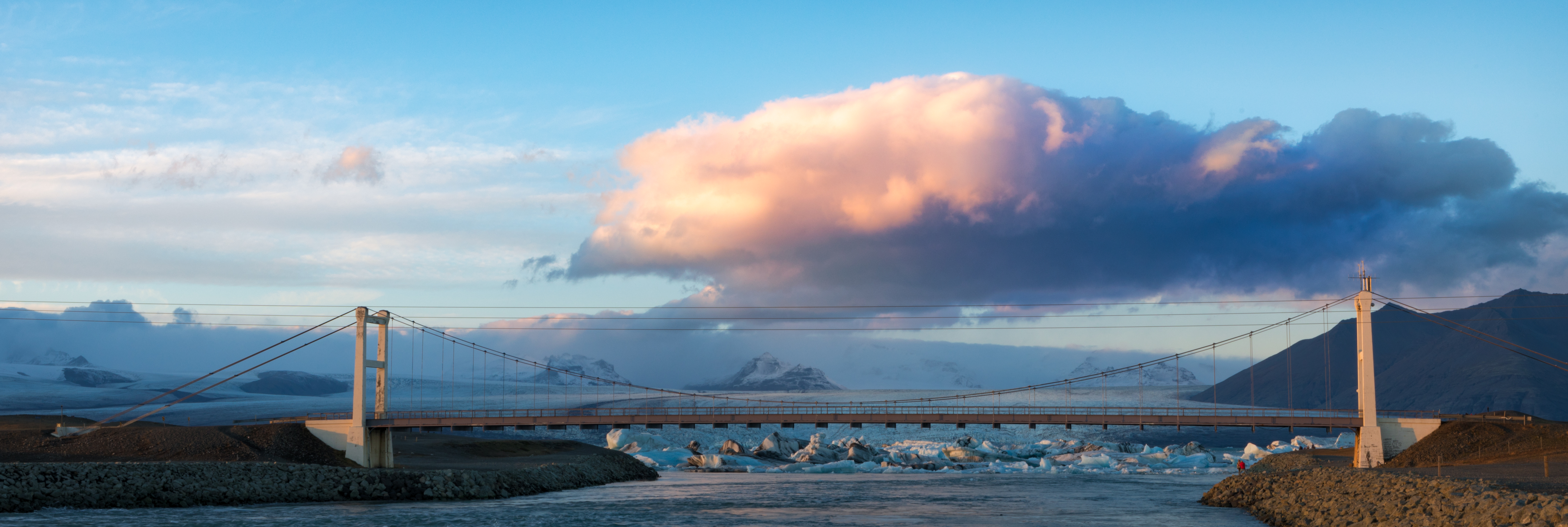 Iceland's Ring Road crosses many river and inlets. This one lane bridge spans the inlet near the Iceberg Laggon.