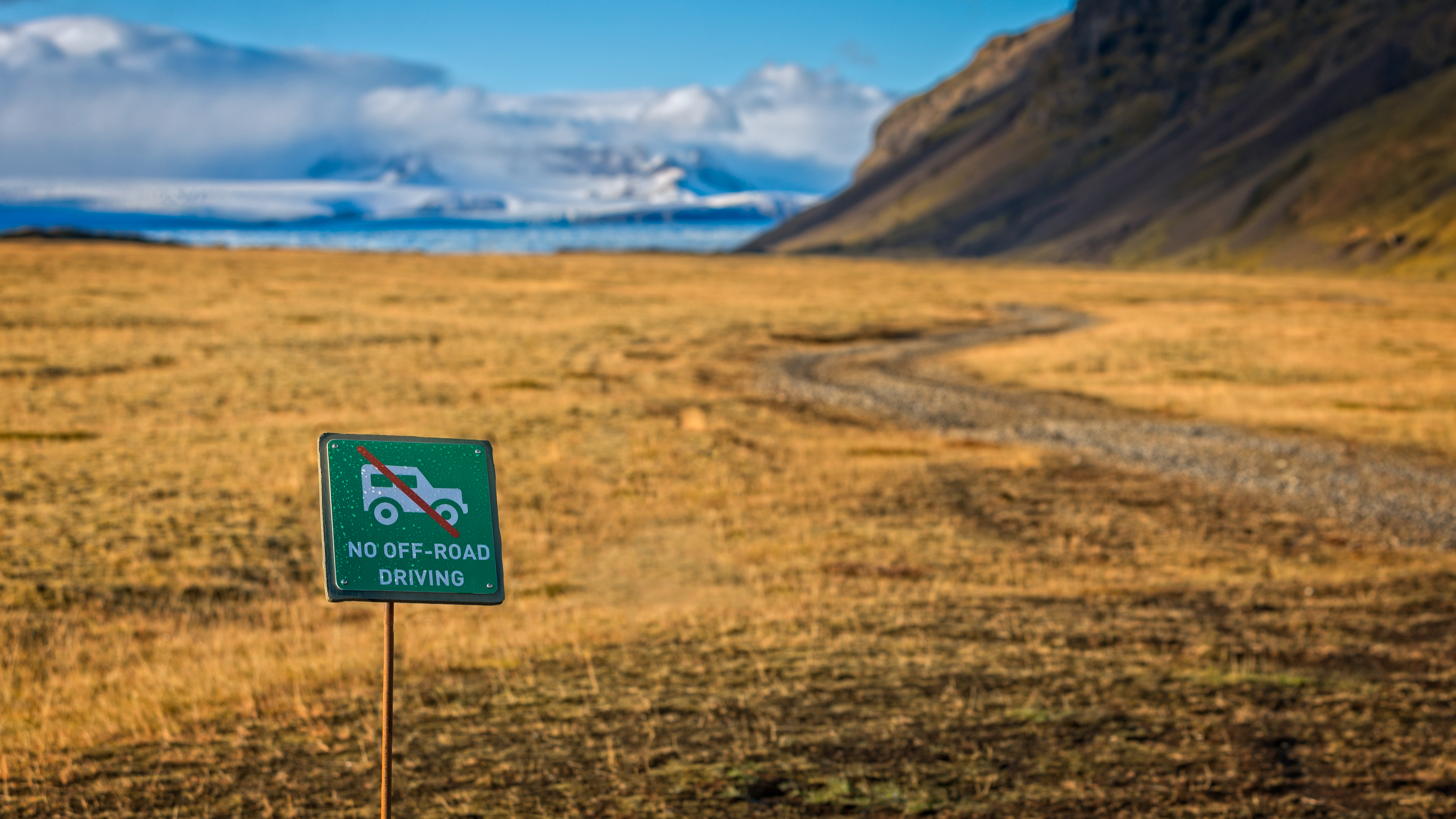 """""""No Off-Road Driving"""" sign in Iceland."""